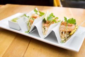 wild prawn tacos at finns seafood restaurant victoria bc