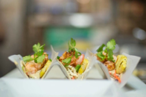 wild prawn tacos - happy hour at finns restaurant