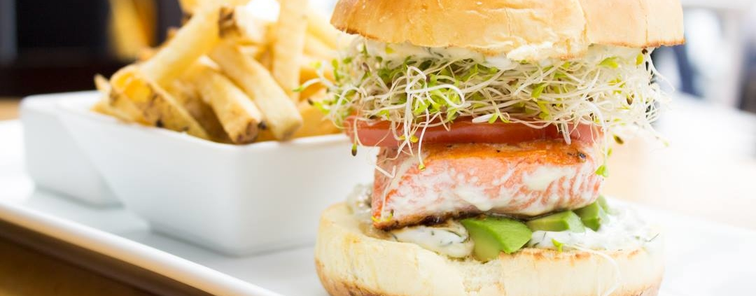 wild salmon filet burger at finns seafood restaurant